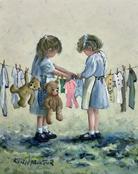 Washing Day by Keith Proctor - Original Painting on Stretched Canvas sized 16x20 inches. Available from Whitewall Galleries